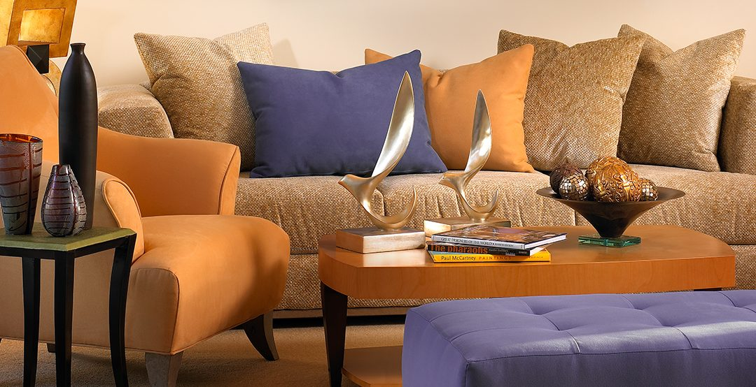 Orange Chair, Orange, Orance Pillows, Purple Bench