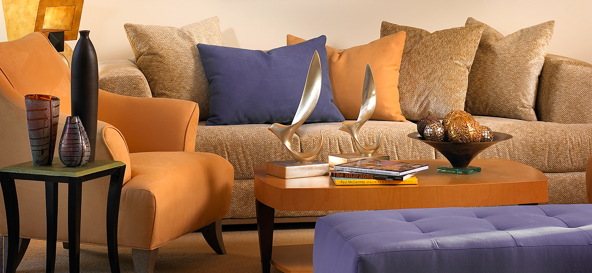 Orange Chair, Orange, Orance Pillows, Purple Bench